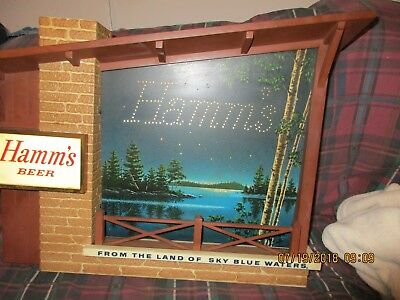 Vintage Retro Starry Nights Hamms Beer Lighted Motion Advertising Sign Man Cave