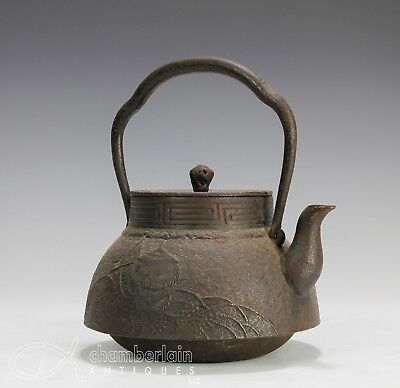 Large Old Japanese Cast Iron Tetsubin Teapot With Relief Design