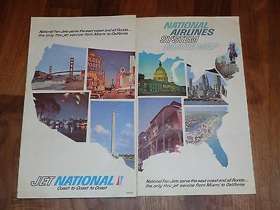 Vintage 1960s National Airlines System Route Map