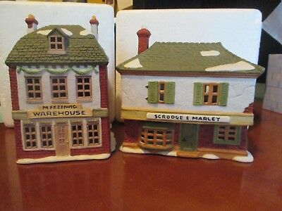 Dept. 56 - Scrooge and Marley and M Fezziwig Warehouse - 2 Houses