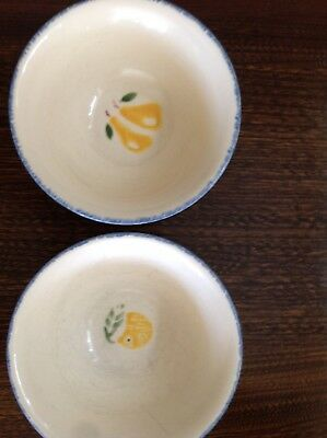 TwoPoole Pottery Dorset Fruits breakfast bowl with pear and orange design