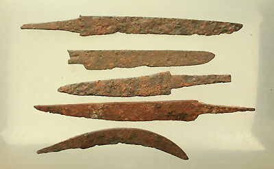 Lot of 5x Ancient Roman Iron Knife L=110-175mm