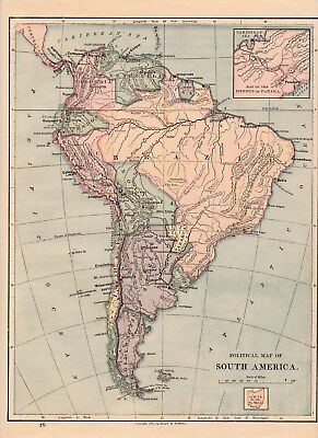 1875 Political map South America