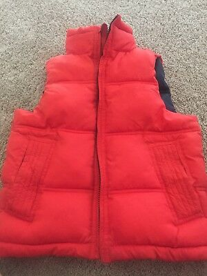 Gap Vest Boys Lined Quilted Puffer Orange Zip Up Boys Size 6-7