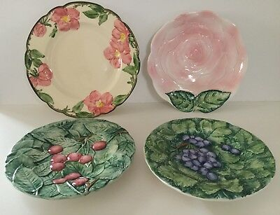 Vintage Hand Painted Dish Plates Fruits Flowers Italy USA 4-Piece Lot EUC