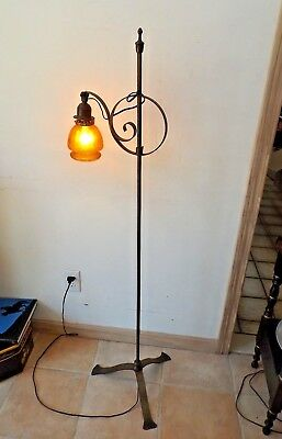 Vintage Antique 1930-40s Craftsman Arts & Crafts Wrought Iron Bridge Floor Lamp