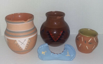 Vintage LOT Lower Sioux Native American Pottery Morton Mn. Signed/Dated DAMAGE