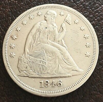 1846 Seated Liberty SILVER DOLLAR RARE Authentic US Coin $1