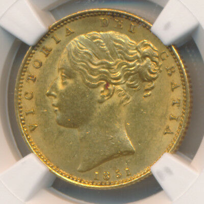 GREAT BRITAIN VICTORIA GOLD SOVEREIGN 1851 FAR DATE 3852c - NGC MS 62