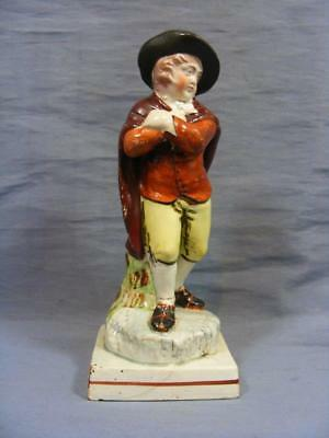 late 18c STAFFORDSHIRE PRATTWARE FIGURE OF WINTERY GENTELMAN WITH CLOAK c1790