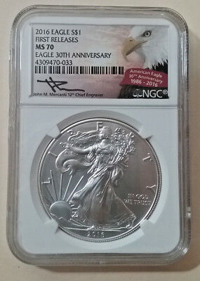 2016 American Eagle Silver Dollar First Releases NGC MS 70* Signed JOHN MERCANTI