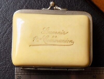 A Vintage Old French Faux Ivory Celluloid Folding Lined Coin Snap Purse