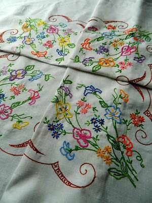 Vintage  white Irish linen hand embroidered tablecloth with Bright Florals