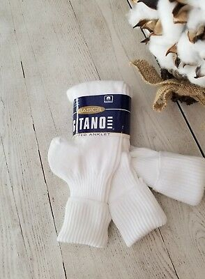 80's 90's Gitano 3 Pairs Womens Vintage White Turn Cuff Ribbed Socks~Made in USA