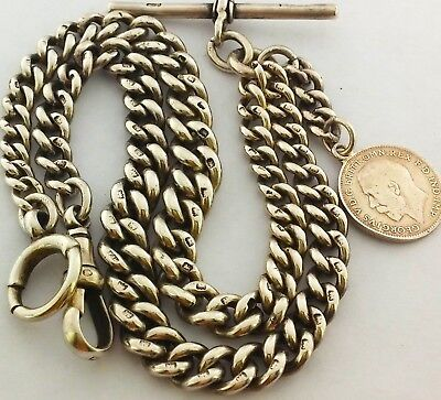 Antique Hallmarked Solid Silver Double Albert Pocket Watch Chain W Coin/fob