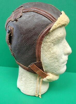 Us Air Corps Type B-6 Sheepskin Flying Helmet- Large