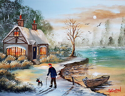 Mal.burton Original Art Oil Painting    A Winters Morning   Walking Dog