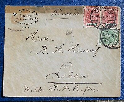 656-18  S.A.R. Johannesburg Transvaal 1899 Cover Russia News Mailed to Lebanon
