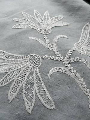"""Antique hand embroider Irish linen bed throw - Art Nouveau crewelwork lace """"H.H"""""""