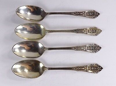 Estate Wallace Sterling Silver Rose Point Spoons Set Of 4 | 6 Inches # 1009