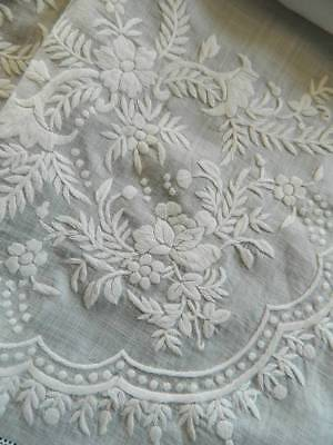 Antique white Pina linen tablecloth - lovely hand embroidery flowers & foliage.