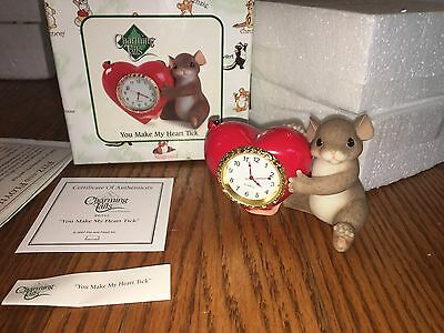 "Charming Tails ""YOUR MAKE MY HEART TICK""  CLOCK HEART MOUSE"