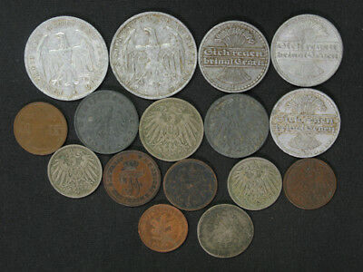 Lot of 16 Germany 1, 5, 10, 50 Pfennig, 3, 500 Mark 1872-1949