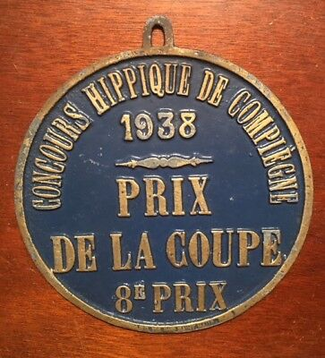 VINTAGE FRENCH BLUE CAST IRON AWARD PLAQUE~ 1938 HORSE SHOW ~ 8th Prize