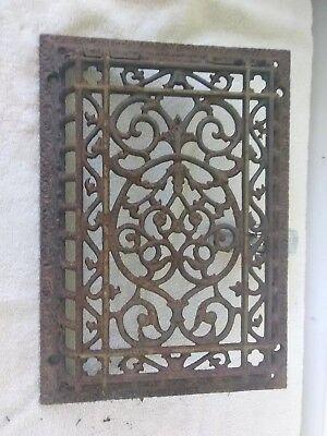 Antique Cast Iron Wall Ceiling Heat Grate  Vent Vintage 13 1/2 x 9 1/2