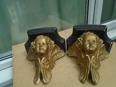 pair of antique plaster wall sconces with gilt cherubs   unusual attic finds