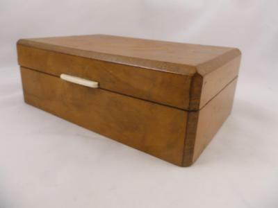 Art Deco 1930/40's Satinwood Jewellery Trinket Cufflinks Cigarette Box Casket
