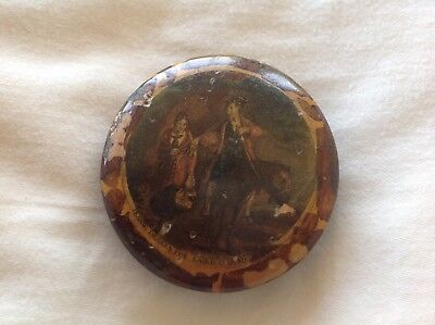 c1820 Early MAUCHLINE WARE Snuff Tobacco Box Walter Scott Coloured Transfer