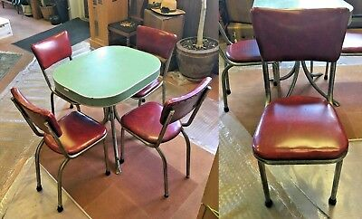 Retro Circa 1950's Metal & Green Formica Kitchen Table with 4 Red Vinyl Chairs