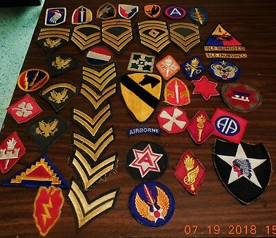 Vintage Mixed Lot of 45 U. S. Military Patches - WWII - Viet Nam