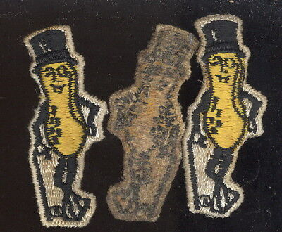 Lot Of 3 Old Figural Mr. Peanut Shirt Patches, Sew On Type