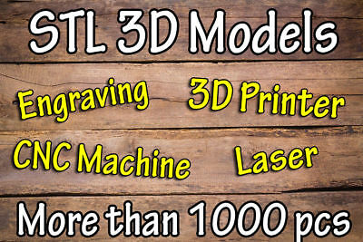 STL 3D Model for 3D Printer, Laser and Engravin, ArtCam CNC - More Than 1000 pcs