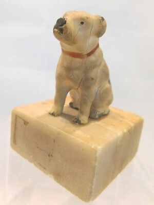 Vintage Germany Cast Metal Terrier Dog Paperweight Marble Base Victor RCA Nipper