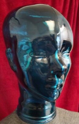 "Clear Blue Glass Mannequin Head 12"" Tall 9"" Depth NICE COLOR"