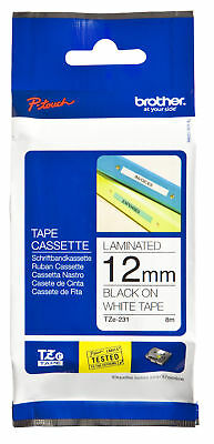 Genuine Brother TZ-231/TZe-231 - 12mm Black on White Laminated Tape P Touch Tape