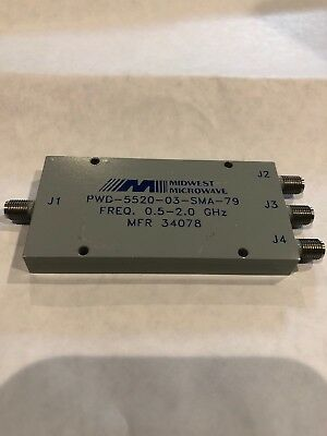 Midwest Micowave SMA 3 Way Power Splitter/ Combiner 0.5- 2.0 GHz