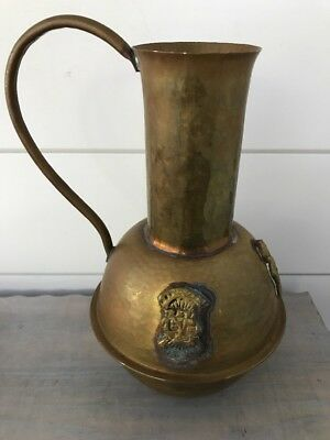 Brass Pitcher with Egyptian Pharaohs Nice Patina