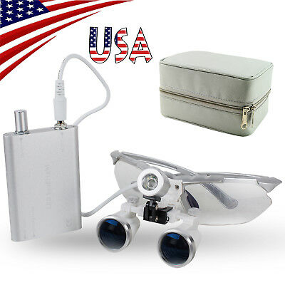 Dental Binocular Surgical Loupes (3.5-2.5)X420mm Optical Glass Light Lamp  Case