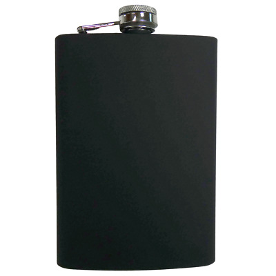 8oz Black Rubber FLASK Stainless Steel Screw Down Cap Hip Pocket Liquor Alcohol