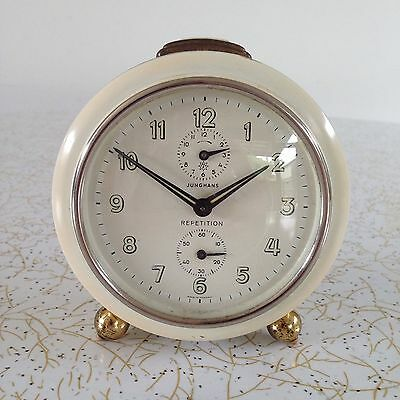 Vintage JUNGHANS REPETITION ALARM CLOCK cream GERMANY 50s 60s RARE mid century