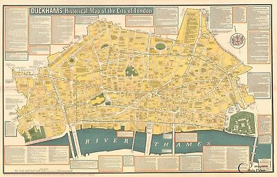 RARE Vintage Duckhams Historical Map of the Ciy of London - Excellent condition