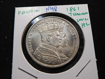 N48 German State Prussia 1861 Thaler UNC Hairline