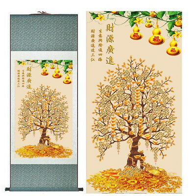 "Money tree painting Chinese traditional art painting silk painting   12""x40"""
