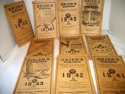 Antique Grier's Almanacs 1940's  ,Entire Decade of 1940's, Ads, Etc.
