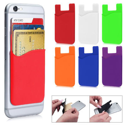 Adhesive Silicone Credit Card Pocket Sticker Pouch Holder Case For Cell Phone