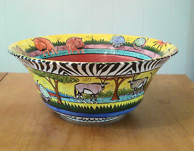 "Penzo Zimbabwe Pottery Large 13 1/4"" & Tall 5 3/4"" Serving Bowl African Animals"